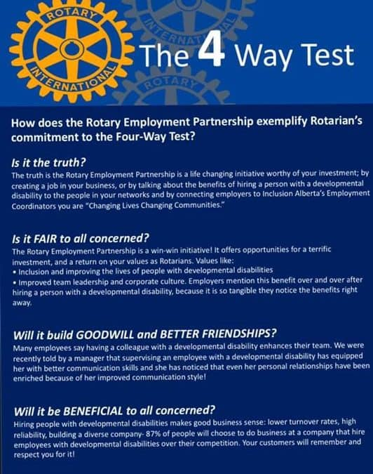 How does the Rotary Employment Partnership fit into the four way test you ask?…