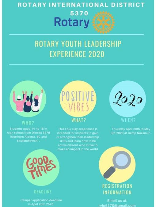 Help share the news! Rotary Youth Leadership Experience 2020 is taking registrations! RYLE (Rotary…