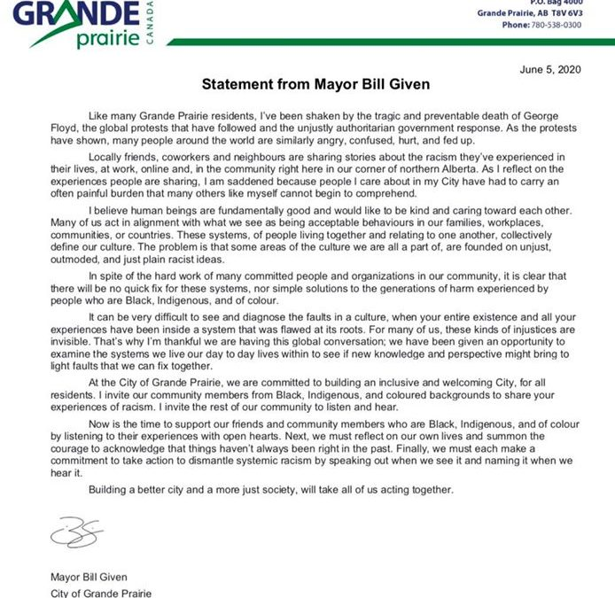 Grande Prairie is not immune to racism. We all have a role to play…